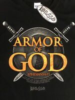 Men's Kerusso Armor of God Christian T-Shirt Black Size L NWT
