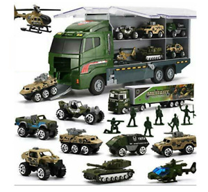 26 Pcs Diecast Battle Military Truck Helicop Soldier 2in1 Mini Army Cars Kids 3+