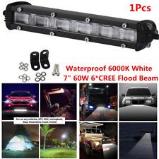 """Para el coche camión SUV Off Road 7"""" 60W 6 * Cree LED Luz de inundación Trabajo Bar 6000K Blanco"""
