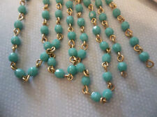 "4mm Turquoise Bead Chain - Glass Beads on Brass Rosary Chain - Qty 18"" strand"