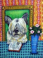 skye terrier art dog Poster modern folk 13x19 Library art Glossy Print