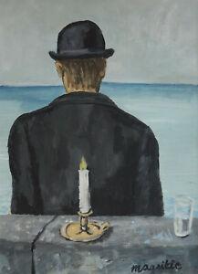 Fine unique Surrealist, portrait painting, signed Rene Magritte w COA Dali era