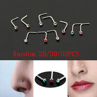 20St Nasenpiercing Stecker Nasenstecker Stift Nasen Piercing Gebogen Zirkonia