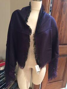 NWT Gucci Purple Metallic Thread Wool Blend Wrap Scarf  FS