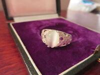 Auffälliger 925 Silber Ring Grazil Weißer Stein Jugendstil Art Deco Elegant Top