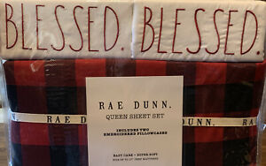 New Rae Dunn Plaid Blessed Queen Sheet Set Red & Black Christmas Holiday