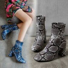 Women Ankle Boots Party Shoes Zip Up Snakeskin Leather Chunky High Heels Big SZ