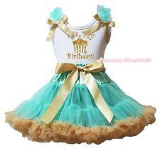 It's My Birthday Cupcake White Top Aqua Blue Gold Khaki Girls Skirt Outfit 1-8Y