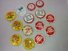 Vintage 14 Assorted Pinbacks Buttons Pins Lot Advertising Anti Smoking Lung Assn