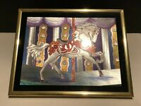 """Vintage 80's~Horse Carousel~Silver Foil Art Picture by Manifestations 8"""" x 10"""""""