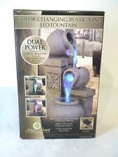 Newport Coast Color Changing LED Indoor Rustic Vase Tabletop Waterfall Fountain