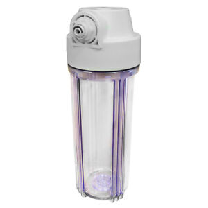 """10"""" CLEAR Water Filter Housing with 1/2"""" Female Ports 1/4"""" PF Fittings Included"""