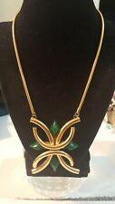 New listing Vintage Faux Jade Goldtone Maltese Pendant Necklace Snake Chain