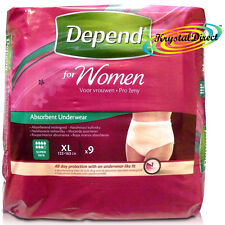 Depend Incontinence 9 Pants Women Female Xtra Large Super Absorbent Underwear