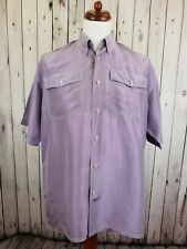 Vtg S-sleeve Lavender Flouncy Boho Oversize Silk Shirt Festival Hippy -M- GS22