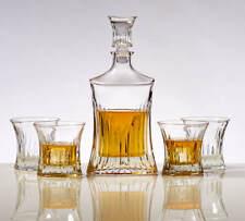 Elegant Whiskey Decanter Set - Striped Wave Design w/ Glass - Impressive Bar Set