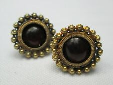 Antique 9ct Gold & Garnet Cabochon Stud Post Earrings c1900