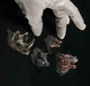 Unpainted set of hunter trophies heads 1:12 scale bear rhinoceros boar crocodile