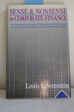 Sense and Nonsense in Corporate Finance by Louis Lowenstein (1991, Hc) #10864