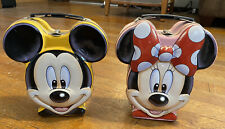 VINTAGE Disney Minnie Mickey Mouse Metal Tin Lunchbox Head Collectable