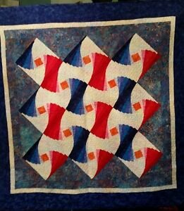 Blue and Red Crazy Log Cabin Wall Quilt
