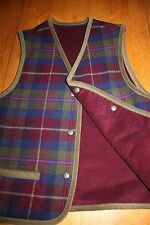 Pendleton Womens Petite SM Field Barn Rugged Corduroy Plaid Wool Reversible Vest