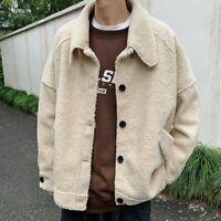 Men Fleece Fur Fluffy Coat Jackets Outwear Overcoat Top Loose Drop Shoulder Cool