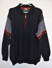 PORSCHE Pullover Sweater Car Zipper Pull Men's Sz M Black Merino Wool Germany