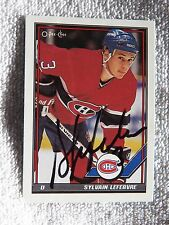 Montreal Canadiens Sylvain Lefebvre Signed 90/91 O-Pee-Chee Card Auto