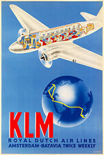 KLM ROYAL DUTCH AIR LINES AMSTERDAM BATAVIA 1937 11 x 17 Giclee Poster