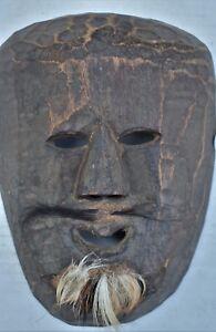 """orig $299-NEPAL/TIBET SHAMAN MASK moustache EARLY 1900S 14"""""""