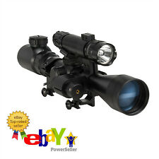 Pinty 3 in 1 Tactical 3-9X40 Red Green Mil-Dot Illumination Reticle Rifle Scope