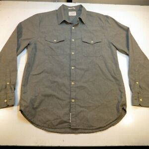 LUCKY BRAND JEANS CLASSIC FIT BUTTON UP SHIRT Mens L Gray