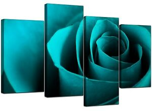 Large Teal Turquoise Floral Canvas Wall Art Pictures XL Prints 4109