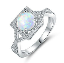 18k White Gold Plated Women Square Shape Opal Wedding Bridal Ring Size 8 R195