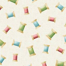 Sew What  Quilt Fabric by the 1/2 yard  Thread Spools Cream  Sewing Novelty