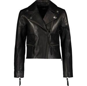 KARL LAGERFELD Black Lambskin Leather Biker Jacket