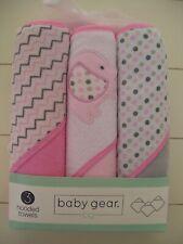 Girls Baby Gear 3 Pack Pink Gray Elephant Dot Chevron Hooded Bath Towels NIP
