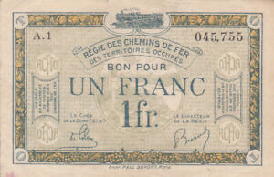 1 FRANC VERY FINE NOTE FROM FRENCH OCCUPIED SAARLAND 1923 PICK-R5