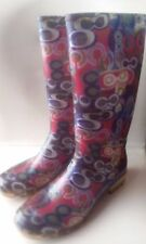 COACH Poppy Blue Multi-Color Graffitii Rain Boots Mid-Calf Women's 8 HiddenJuel