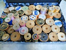 65 Vintage Wooden Spools Some with Thread