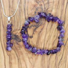 Amethyst Gem Chip Pendant Necklace & Bracelet Gift Set Calming Meditation Love