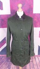 #975A Barbour Soft Cotton Ladies Long Green Waterproof Newmarket Jacket, UK 10