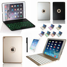Bluetooth 7 Colors Backlit Keyboard Folio Case Cover For iPad Air 2