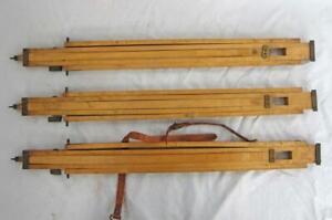 SUPERB ANTIQUE VINTAGE WOOD & BRASS CAMERA TRIPOD LEGS 1880
