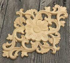 Elegant Unpainted Wood Carved Corner Onlay Applique Frame Furniture Home Decor