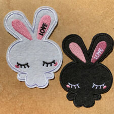 1pc Rabbit Love Black White Embroidered Cloth Iron On Patch Applique #1378