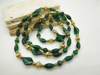 "Vintage 48"" Long Marbled Green Lucite Gold Tone Bead Necklace B31"