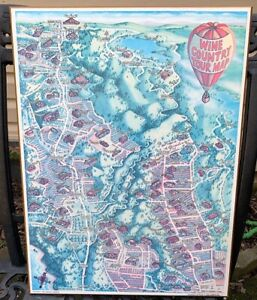Wine Country Tour Map Napa Sonoma Valley 1983 Morales Wood Print Wall Hanging