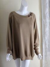 Ralph Lauren -Sz 3X Beige Brown Cotton Equestrian Boatneck Tunic Sweater